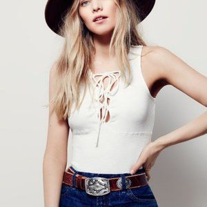 Free People White Emmy Lou Lace Up Ribbed Tank Top
